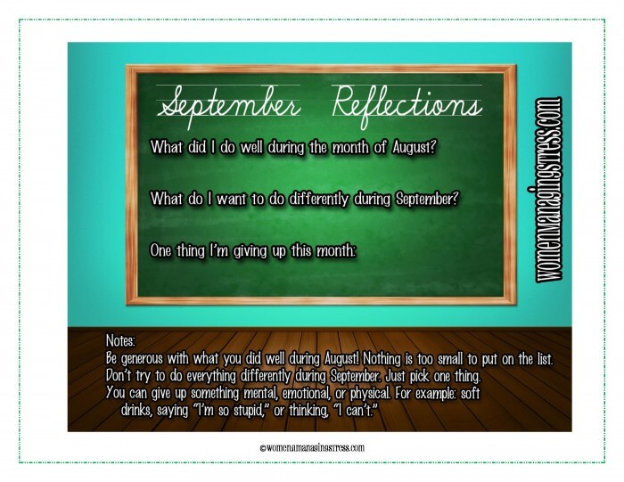 September Reflections Planning Sheet