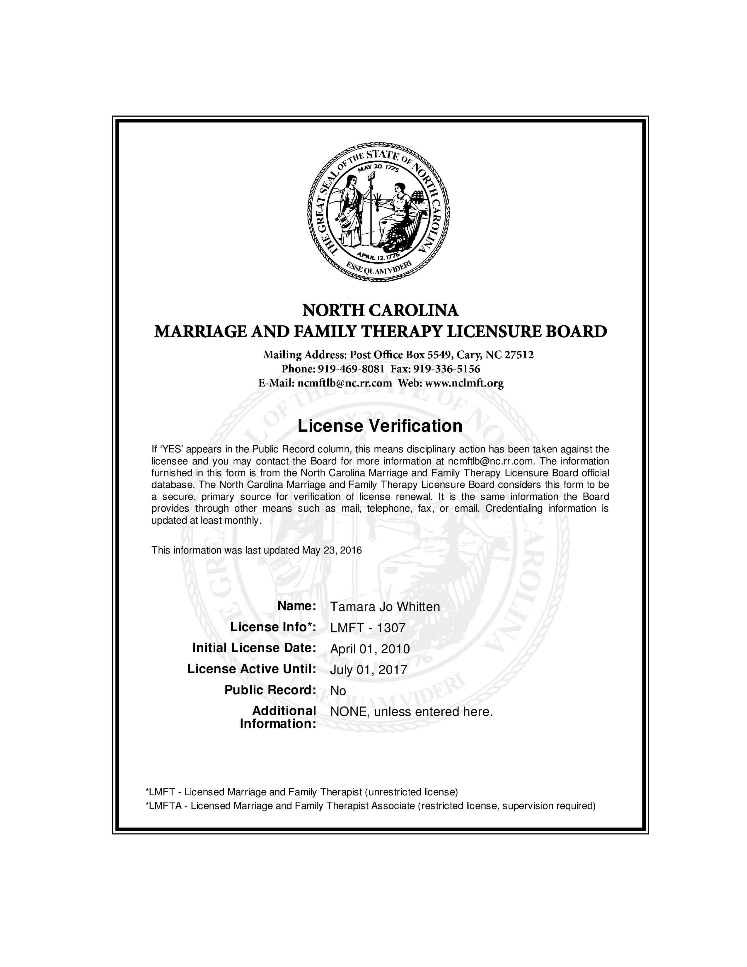 Tammy Whitten LMFT License 2016-2017