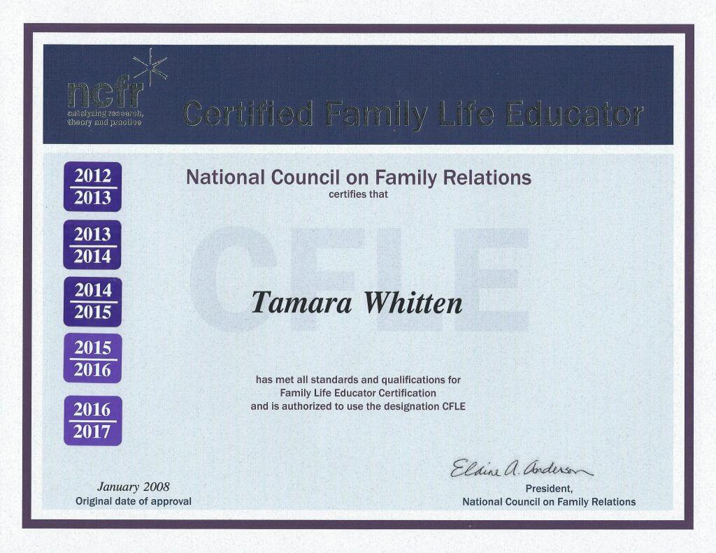 Tammy Whitten CFLE-Certificate